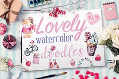 Check out Lovely Watercolor Doodles by Emine Gayiran on Creative Market