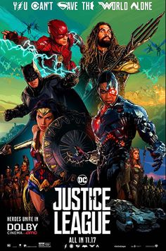 Justice League Movie Poster 2017 Featuring The Flash, Aquaman, Batman, Wonder Woman and Cyborg, Check out all 19 Justice League Easter Eggs and Missed Details - DigitalEntertainmentReview.com