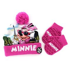 Amazon.com  Minnie Mouse Toddler Beanie Hat and Mittens Set (Bow  Black Pink)  Clothing 9d74ce200f3b