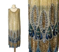 1920s Sequin Dress  Iridescent gold and three by PenniesLondon