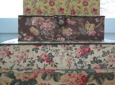 fabric covered storage boxes....both pretty & practical x