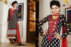 Stunning Black chiffon punjabi suit with border work.pair with mathcing bottom and dupatta. Punjabi Suits, Salwar Kameez, Chiffon, Casual, Black, Silk Fabric, Shalwar Kameez, Black People, Patiala