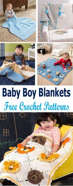 Beautiful FREE baby boy blanket crochet patterns from Red Heart. #crochetncreate #crochet #crochetbabyblankets