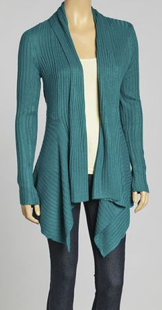 Teal Ribbed Open Cardigan