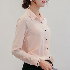 30dfee7ed0729 EIJOQAN 2018 New Long sleeve Turn-down Collar Casual Solid Vogue chiffon  shirt spring summer Slim Temperament Blouse Women 1839