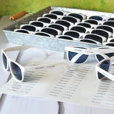Wedding sunglasses personalized with names and wedding date on transparent stickers