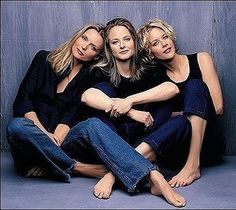 "michelle pfeiffer, jodie foster and meg ryan photographed by herb ritts for vanity fair in 1999 "" This shot was taken for the fourth Hollywood issue and these were the three biggest female stars in. Jodie Foster, Michelle Pfeiffer, Sophia Loren, Nicole Kidman, Meg Ryan Hairstyles, Cinema, Poses, Film Serie, Famous Women"