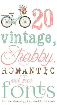 To combine my typography love with my love for all things vintage and shabby chic should have probably happened years ago. But, these are my current faves in the land of all things free, vintage, shabby, and romantic fonts. Fancy Fonts, Cool Fonts, Simple Fonts, Creative Fonts, Polices Cricut, Typography Fonts, Hand Lettering, Cursive Fonts, Vintage Typography