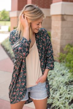 Small print chiffon cuffed cardigan cocoa. If you like our solid cuffed cardigans you'll love this trendy floral printed version custom made for Lush Fashion Lounge women's boutique by a vendor! This