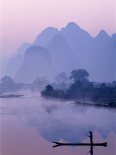 Li River and Limestone Mountains and River,Yangshou, Guangxi Province, China by Steve Vidler