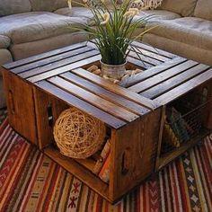 DIYでおしゃれローテーブルを作ってみよう☆ - GEENA(ジーナ) 毎日 ... リンゴ箱をうまく組み合わせたローテーブル
