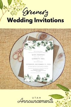Turn your invitation from simple to elegant with this greenery wedding invitation design. Create one with us today! Burlap Wedding Invitations, Wedding Invitation Trends, Invites, Fresno California, Rustic Wedding Inspiration, Wedding Announcements, Rustic Feel, Utah, Greenery