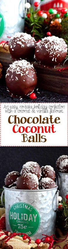 Chocolate Coconut Balls - A sweet moist coconut and vanilla flavoured center covered in a chocolate coating Chocolate Coconut Balls are an easy no-bake holiday favourite! Easy No Bake Desserts, Köstliche Desserts, Holiday Baking, Christmas Desserts, Christmas Treats, Christmas Baking, Delicious Desserts, Dessert Recipes, Christmas Cookies