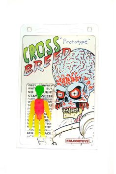 "Crossbreed (Prototype) (LE 1) $55 This 4"" resin action figure is a 'What if?' merging the aliens from Mars Attacks and the ones from They Live. Hand-cast in multiple florescent colors by Falcontoys, this comes packaged in a transparent 6 x 9 in. blister case with backing card printed on transparency."