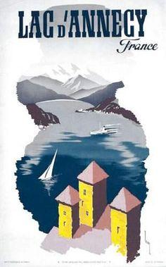 Lac d'Annecy - Haute Savoie - illustration de Lecoq -