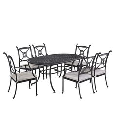 Home Styles Athens Charcoal 7-Piece All-Weather Cast Aluminum Patio Dining Set with Cushions-5569-338 - The Home Depot
