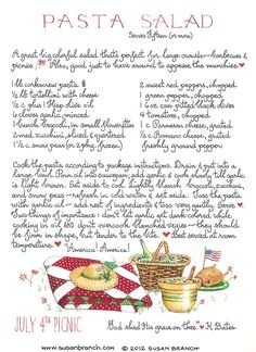 Pasta Salad recipe for 4th of July picnic ~ Susan Branch ~ 2012.