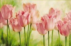 Купить Вечерние тюльпаны - ярко-красный, желтый цвет, картина для интерьера, интерьер, вышитые картины