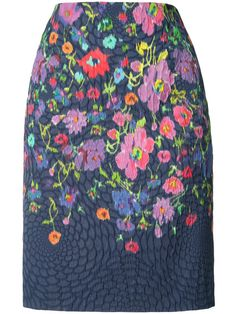 OSCAR DE LA RENTA Floral Print Pencil Skirt. #oscardelarenta #cloth #skirt