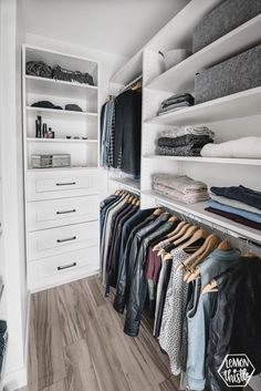 In Closet Makeover So many great tips on how to maximize storage in a small walk in closet! Master Closet Makeover - Before and AfterSo many great tips on how to maximize storage in a small walk in closet! Master Closet Makeover - Before and After Small Master Closet, Walk In Closet Small, Master Closet Design, Walk In Closet Design, Master Bedroom Closet, Small Closets, Closet Designs, Master Bedrooms, Long Narrow Closet