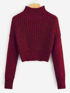 SweatyRocks Solid Stand Collar Crop Sweater Long Sleeve Female Elegant Pullovers Tops 2018 Autumn Women Casual Basic Sweaters - burgundy,s Grunge Look, 90s Grunge, Grunge Style, Soft Grunge, Tween Fashion, Teen Fashion Outfits, Fashion Mode, Fashion Trends, Crop Top Outfits