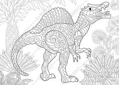 Dinosaur Spinosaurus Adult Coloring Book Page. Zentangle