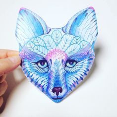 Sticker Blue Fox face animal sticker 100% waterproof vinyl