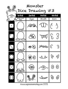 Monster Roll and Draw Sheets - Bildung Monster Drawing, Monster Art, Doodle Monster, Monster High, Halloween Kunst, Drawing Games, Drawing Art, Drawing Sheet, Art Worksheets