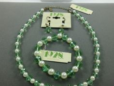 1928 JewelryCo. Light Green Swarovski Crystals Faux Pearl Necklace Set #1928 #StrandString