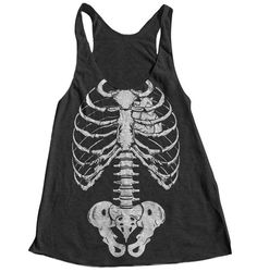 Halloween Skeleton Women Tank Top American Apparel Triblend Racerback Tank Top Hand Screen Printed