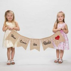 **** MUST GET THIS HANNAH****Hessian Burlap Here Comes The Bride Bunting Sign Rustic Wedding Party Banner #Handmade