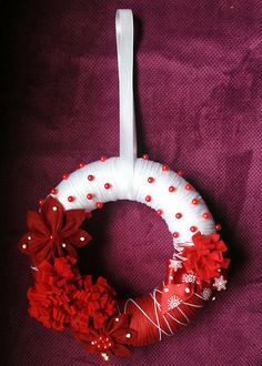 Christmas decorative red and white winter wreath by TheLostToys, $15.00