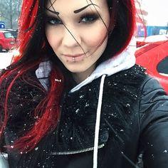 "starfucked:  ""#Ikea weather today ☔️❄️ #snow #sweden #redhair #piercings #alternative #starfucked  """