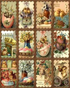 12 Easter - Chicks Eggs Vintage 155 Lb Laminated Scrapbook Paper Craft Card Tag