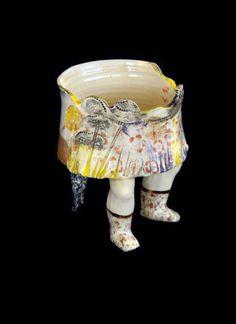 Michaela Kloeckner Memories - 2013 Wheelthrown and slip cast Earthenware, ceramic under glaze colours, tissue paper print, gold lustre. Earthenware, Tissue Paper, Luster, Glaze, It Cast, Colours, Memories, Ceramics, Tableware