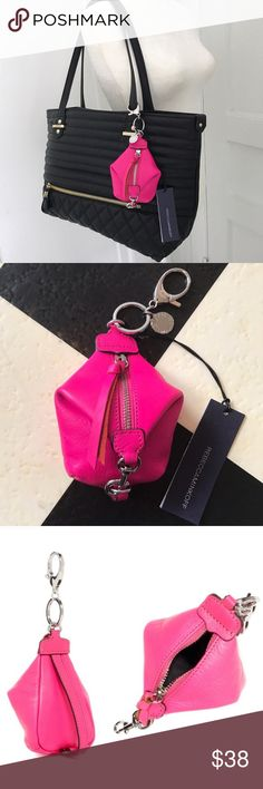 "Rebecca Minkoff Bag Charm or Coin Purse New with tags! Approximately 4""H x 3""W x 3""D. Lobster clasp and key ring. Zip closure. Leather construction. Bright pink color. Rebecca Minkoff Bags Clutches & Wristlets"