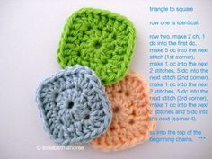 From Elisabeth Andree ~ tiny square.  Row 1 :: Start with adjustable loop, chain 2, make 11 DC into the ring.  Pull ring closed, slip stitch into top of beginning chain 2.  Continue with directions given for square.  #crochet #motif
