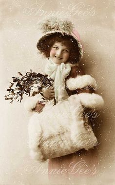 Edwardian Christmas Girl with Muff Hand Tinted Photo by AnnieGees