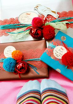 colorful lace and pom poms