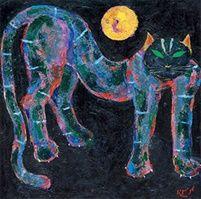 Popo Iskandar (Indonesian, 1927–2000) Title: Kucing dan bulan(cat and the moon) , 1996