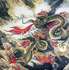 Chinese Dragon Painting,66cm x 66cm,4739001-x