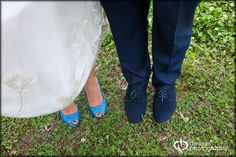 Blue suede shoes for him and blue glitter pumps for her!
