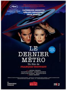 Le Dernier métro est un film de François Truffaut avec Catherine Deneuve, Gérard Depardieu. Synopsis : Paris, septembre 1942. Lucas Steiner, le directeur du théâtre Montmartre a dû fuir parce qu'il est juif. Sa femme Marion Steiner dirige le théâtre et
