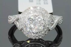 White Gold Over Ct Round Halo Diamond Solitaire Wedding Engagement Ring Engagement Wedding Ring Sets, Wedding Ring Bands, Solitaire Engagement, Wedding Jewelry, Diamond Cuts, Halo Diamond, White Gold, Bridal, Ladies White