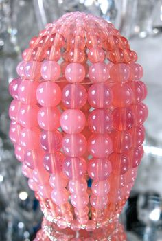 Small Opal Pink Pressed Glass Chandelier Beaded Bulb Cover via Etsy