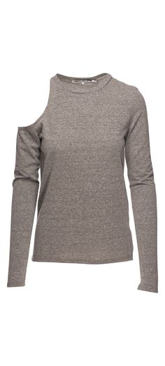Pam & Gela Long Sleeve Shoulder Cutout Tee in Heather Grey / Manage Products / Catalog / Magento Admin