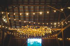 DIY paper dot chandelier wedding |  Morgen & James' Super DIY, Anthropologie Inspired Rockland Farms Wedding | Images: Porter Watkins Photography