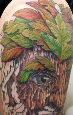Session 13, 12/07/14, Greenman tattoo, top leaves completed with great blending of colour tones, by Craig Smith, Skin Graphics, Lowestoft, UK