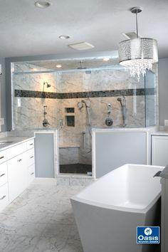 Frameless panel/door/panel/return in low iron glass. Frameless Shower Enclosures, Frameless Shower Doors, Glass Shower Doors, Glass Door, Double Shower, Panel Doors, Oasis, Minimalism, Bathrooms