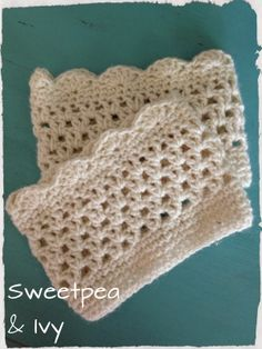 Neutral Crochet Boot Cuffs, Wrist Warmers and Shawl perhaps Scarf